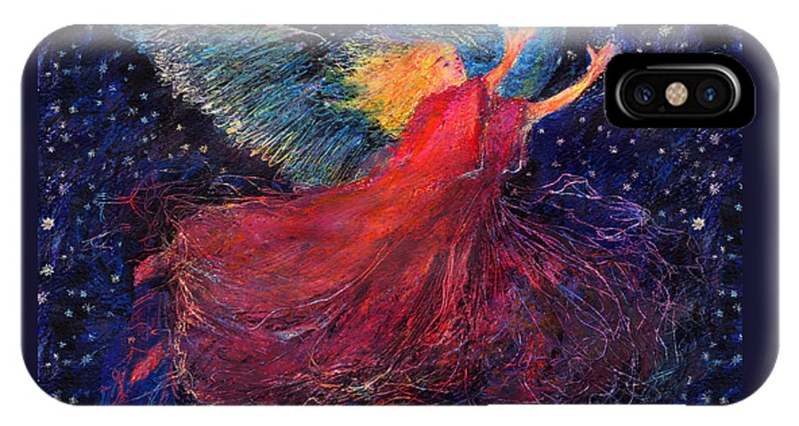 Angel IPhone X Case featuring the painting Starry Angel by Diana Ludwig