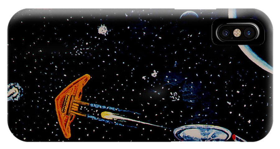 Startrel.scoemce Foxopm.s[ace.[;amets.stars IPhone X Case featuring the painting Startrek by Stan Hamilton