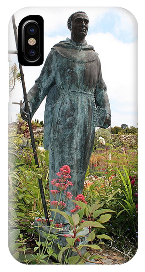 Father Serra IPhone X Case featuring the photograph Statue Of Father Serra At Carmel Mission by Carol Groenen