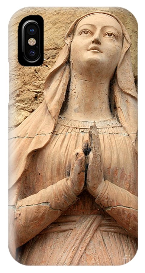 Mary IPhone X Case featuring the photograph Statue Of Mary Closeup by Carol Groenen