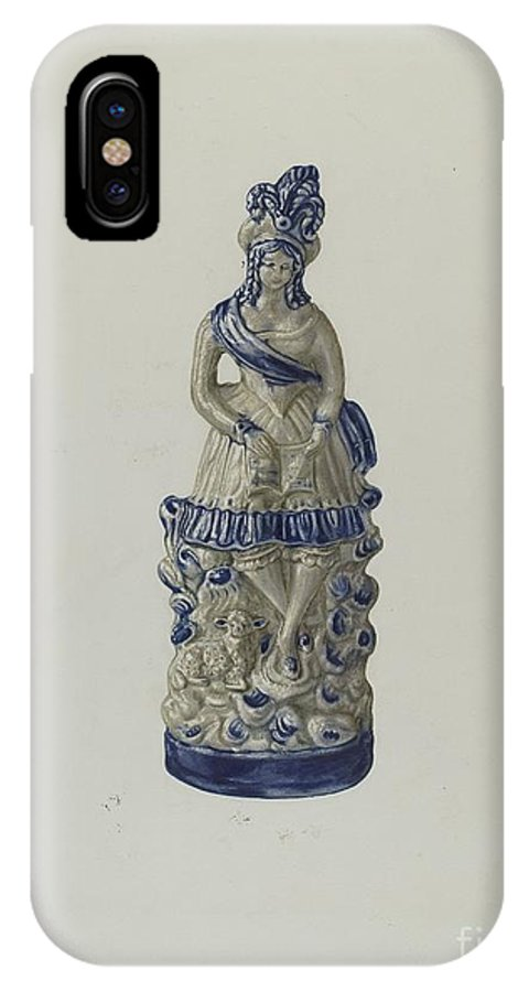 IPhone X Case featuring the drawing Statuette by Yolande Delasser
