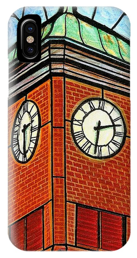 Clocks IPhone X Case featuring the painting Staunton Clock Tower Landmark by Jim Harris