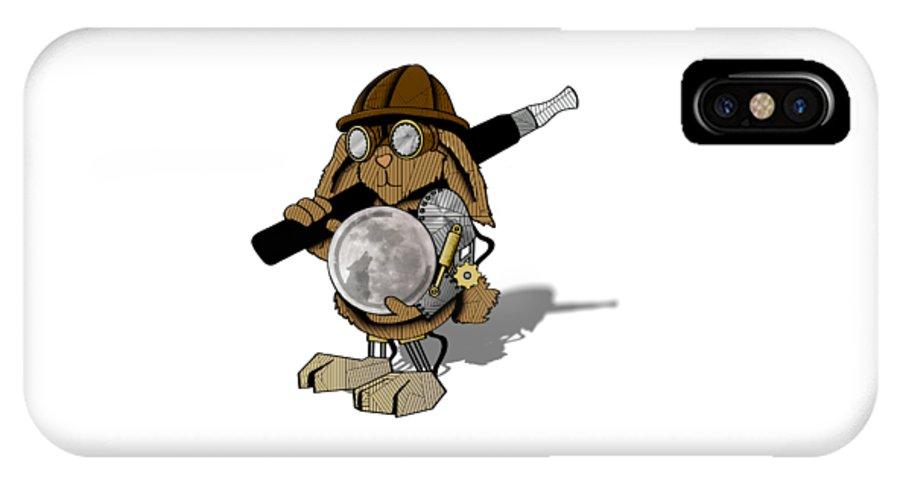 Steam IPhone X / XS Case featuring the digital art Steam Rabbit by Lee Wolf Winter