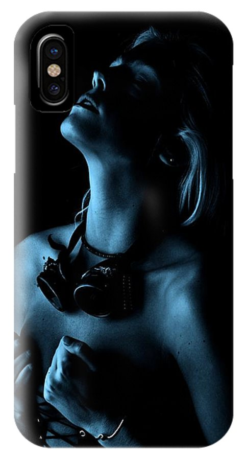 Hands Profile Blue IPhone X Case featuring the photograph Steampunk Blue by Bill Munster