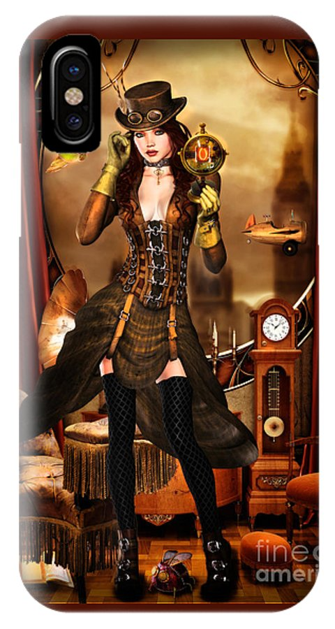 Steampunk IPhone X Case featuring the digital art Steampunk Girl by Alicia Hollinger
