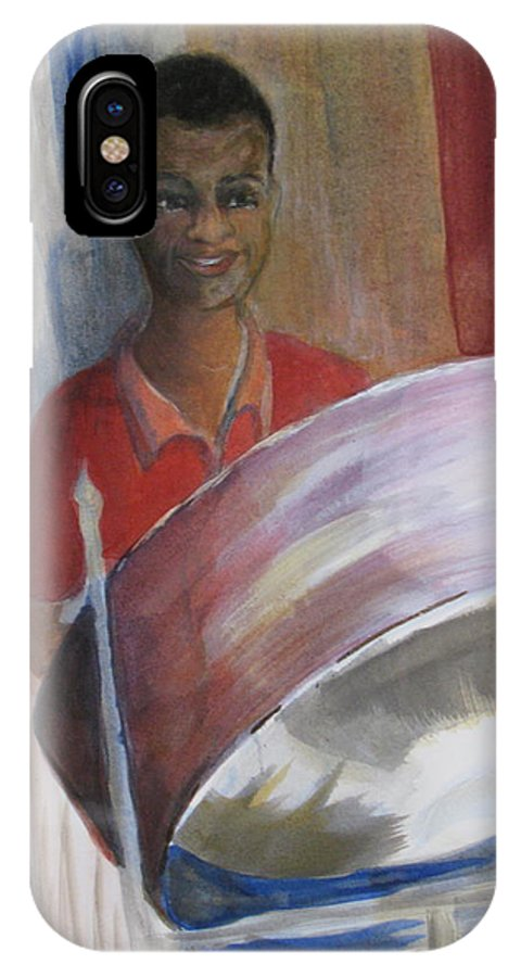 Bahamas IPhone X Case featuring the painting Steel Drums by Donna Steward