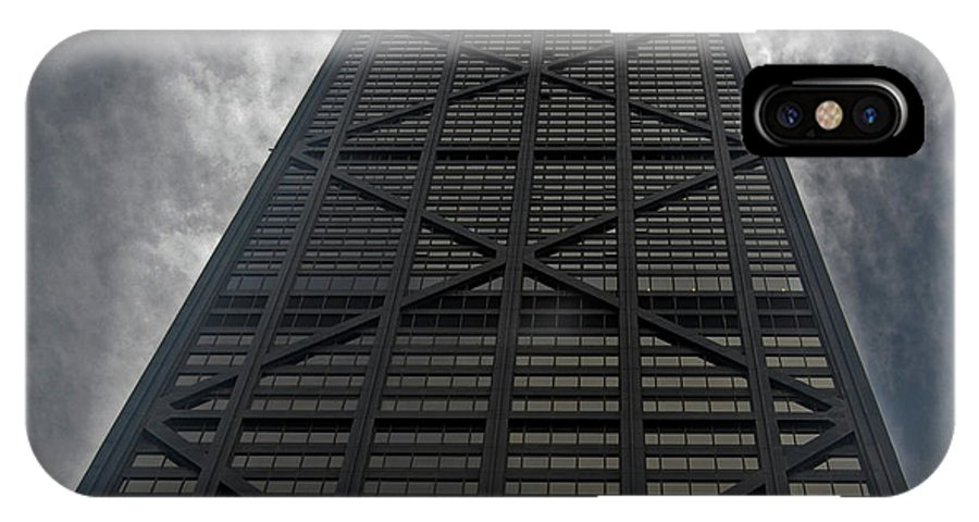 Chicago IPhone X Case featuring the photograph Steel Grey Skyrise Chicago by Skip Willits