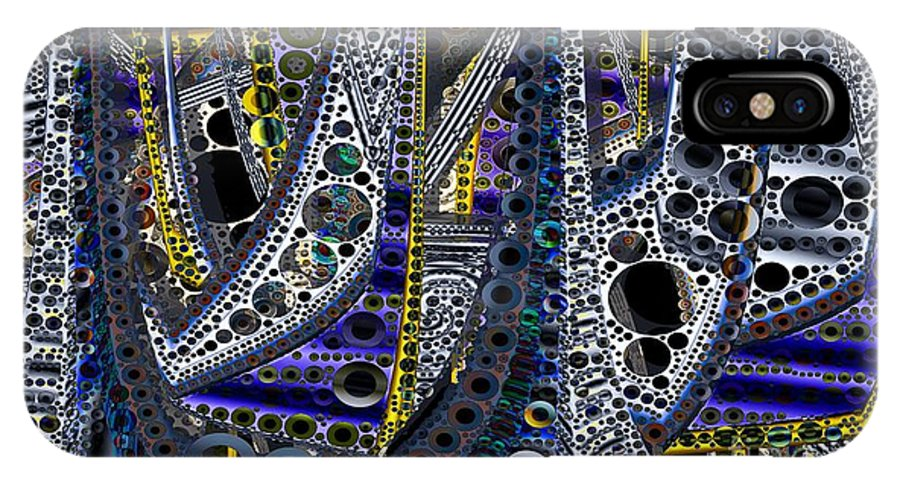 Abstract IPhone X Case featuring the digital art Steel Shapes Our World by Ron Bissett