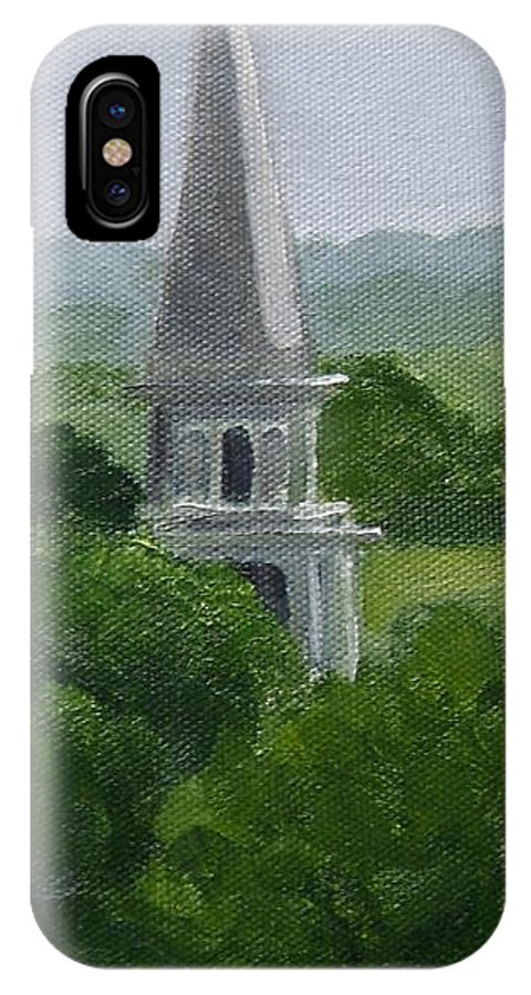 Steeple IPhone X Case featuring the painting Steeple by Toni Berry