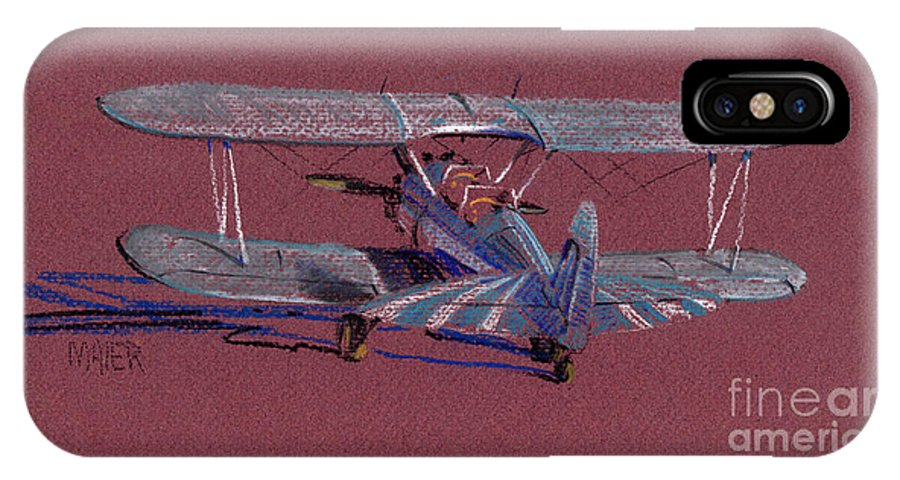 Steerman Biplane IPhone Case featuring the drawing Steerman Biplane by Donald Maier