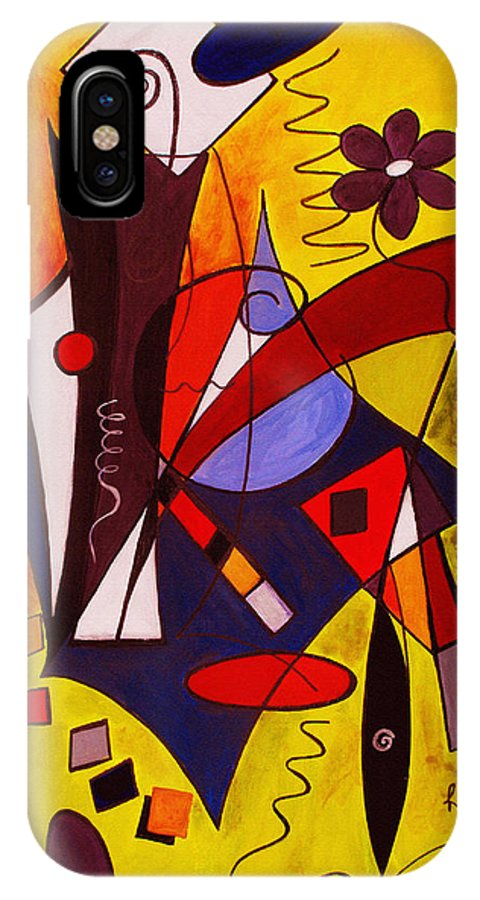 Abstract IPhone X Case featuring the painting Step Lively Now by Ruth Palmer