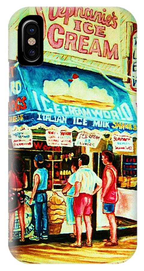 Children IPhone X Case featuring the painting Stephanies Icecream Stand by Carole Spandau