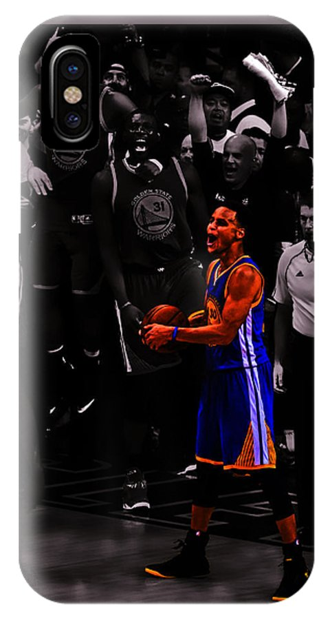 Stephen Curry IPhone X Case featuring the mixed media Stephen Curry Sweet Victory by Brian Reaves