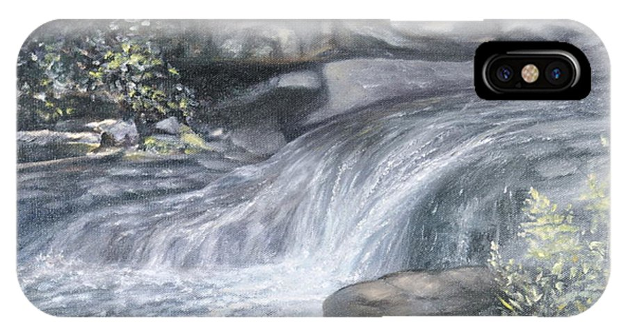 Oil Paintings Of Water Falls IPhone X Case featuring the painting Stepping Stones by Penny Neimiller