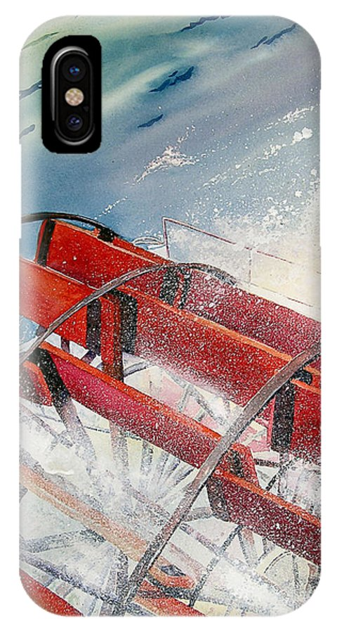 Paddlewheeler IPhone X Case featuring the painting Sternwheeler Splash by Karen Stark
