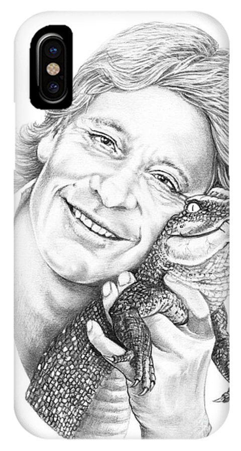 Drawing IPhone X Case featuring the drawing Steve Irwin Crocodile Hunter by Murphy Elliott