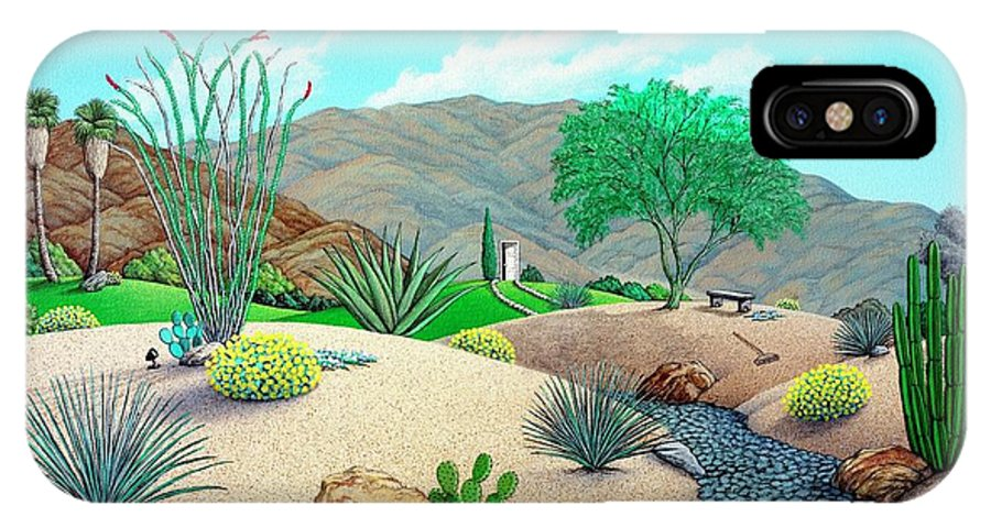 Desert IPhone X Case featuring the painting Steves Yard by Snake Jagger