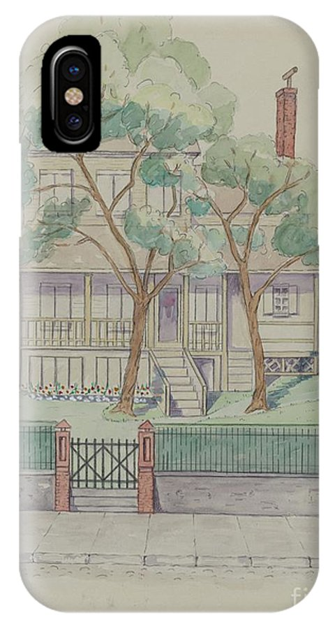 IPhone X Case featuring the drawing Stewart House by Gladys Cook