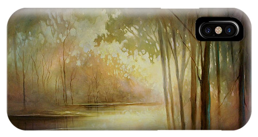 Landscape Painting IPhone X Case featuring the painting Still Haven by Michael Lang