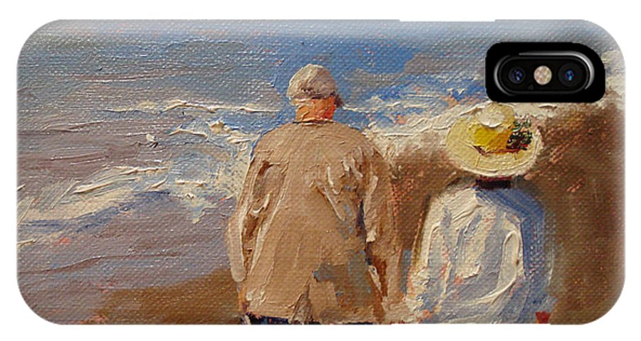 Figurative IPhone X Case featuring the painting Still Holding Hands by Barbara Andolsek