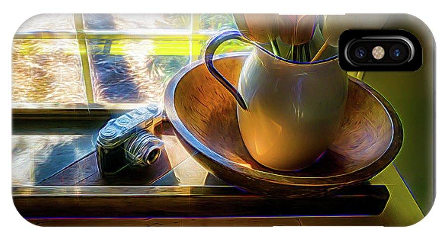 Horizontal IPhone X Case featuring the digital art Still Life By Window by Robert Meyerson