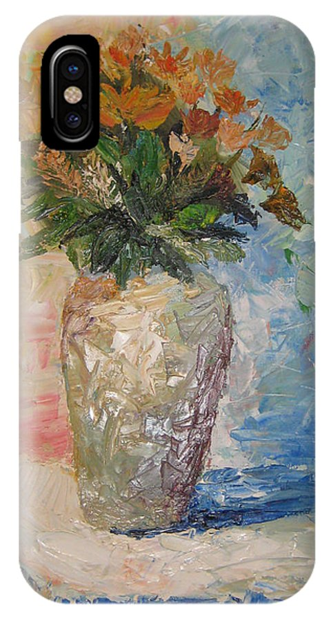Still Life Vase Flowers IPhone Case featuring the painting Still Life Flowers by Maria Kobalyan