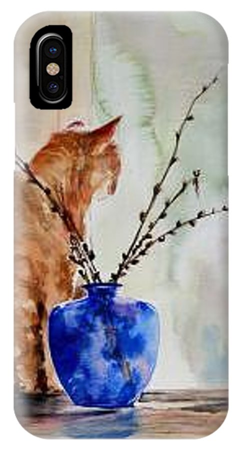 Cat IPhone X Case featuring the painting Still Life by Lynee Sapere