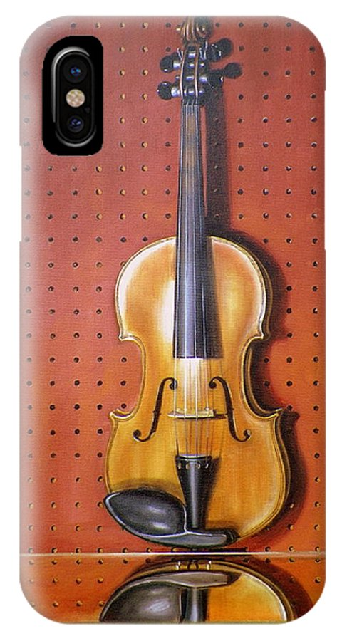Art IPhone X Case featuring the painting Still Life of Violin by RB McGrath