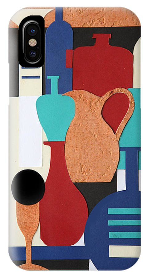 Still Life IPhone X Case featuring the mixed media Still Life Paper Collage Of Wine Glasses Bottles And Musical Instruments by Mal Bray