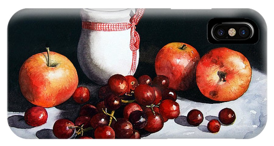 Still Life IPhone X Case featuring the painting Still Life 'Preserve Pot and Fruit' by Paul Dene Marlor