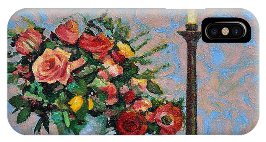 Flowers IPhone Case featuring the painting Still Life With A Lamp by Iliyan Bozhanov