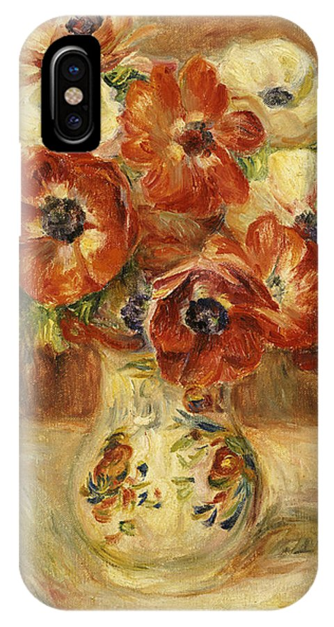 Impressionist; Impressionism; Flower; Vase; Leaves IPhone X Case featuring the painting Still Life With Anemones by Pierre Auguste Renoir