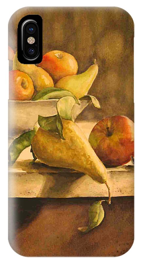 Still-life IPhone X Case featuring the painting Still-life With Apples And Pears by Piety Choi