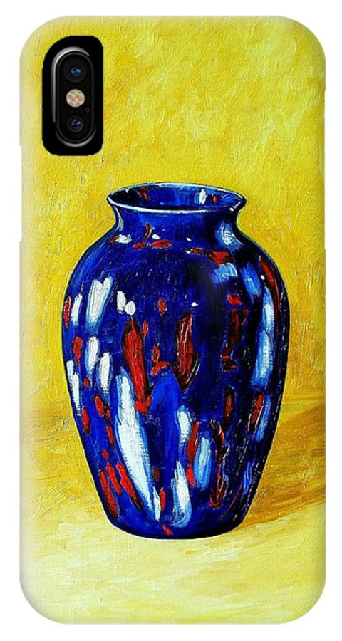 Art IPhone X Case featuring the painting Still Life With Blue Vase by RB McGrath