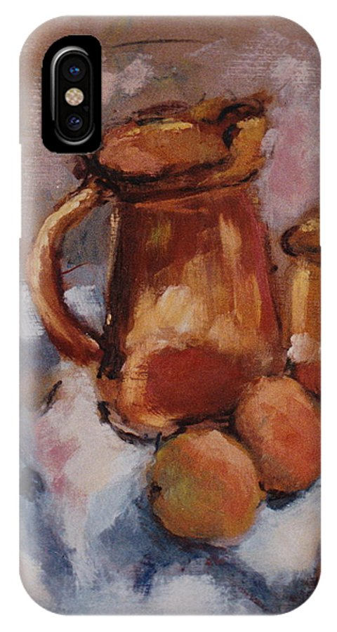 Still Life IPhone X / XS Case featuring the painting Still Life With Brown Pitcher by Ina Chomka