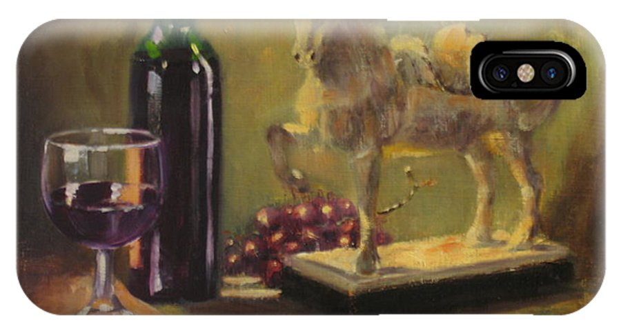 Oil Painting IPhone X Case featuring the painting Still Life With Horse by Laura Lee Zanghetti