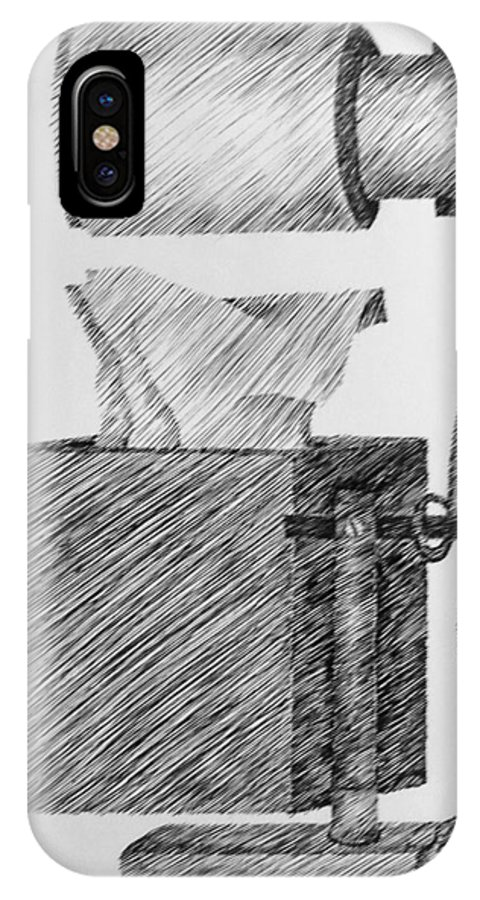 Still Life IPhone X Case featuring the drawing Still Life With Lamp And Tissues by Michelle Calkins