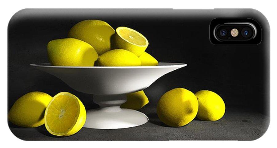 Cynthia Decker IPhone X Case featuring the digital art Still Life With Lemons by Cynthia Decker
