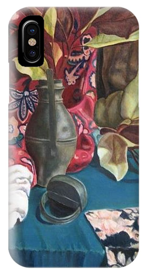 Still-life IPhone X Case featuring the painting Still-life With Magnolia Leaves by Piety Choi