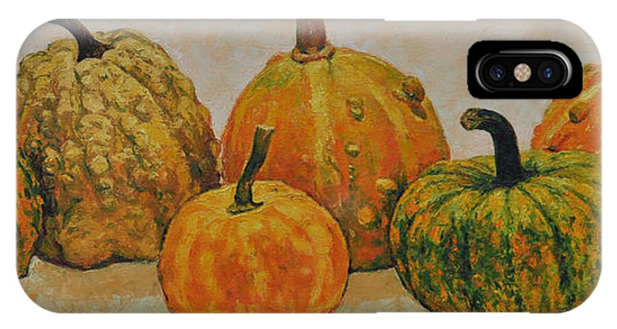 Still Life IPhone X Case featuring the painting Still Life With Pumpkins by Iliyan Bozhanov
