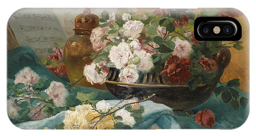 Eugene Henri Cauchois IPhone X Case featuring the painting Still Life With Roses In A Cup Ornamental Object And Score by Eugene Henri Cauchois