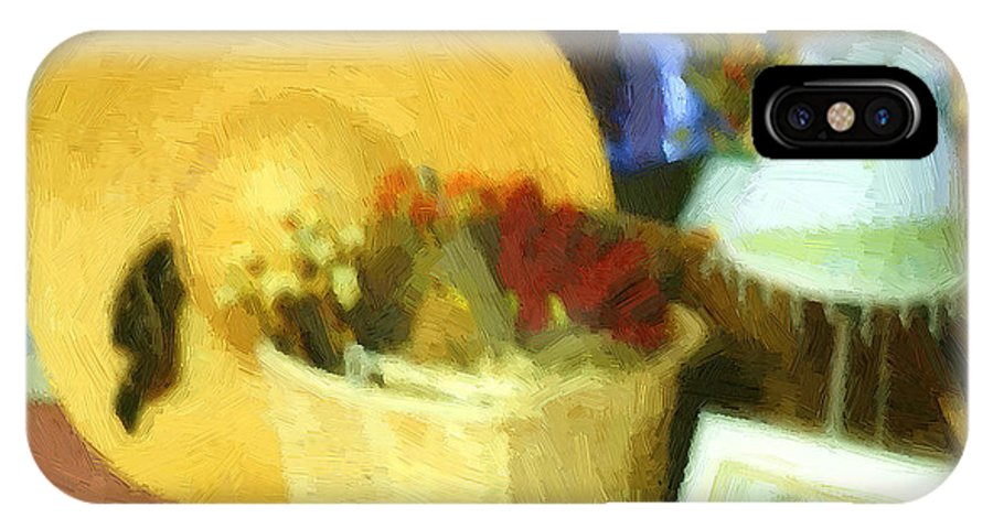 Basket IPhone X Case featuring the digital art Still Life With Straw Hat by RC DeWinter