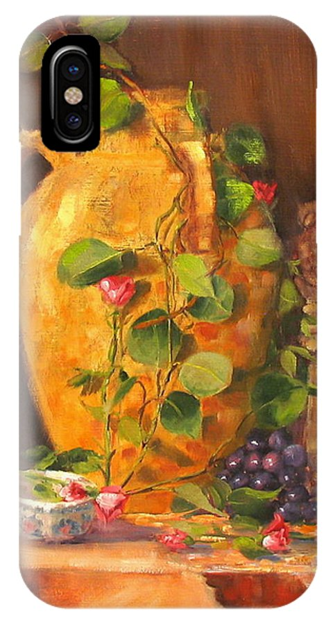 Oil Painting IPhone X Case featuring the painting Still Life With Urn by Laura Lee Zanghetti