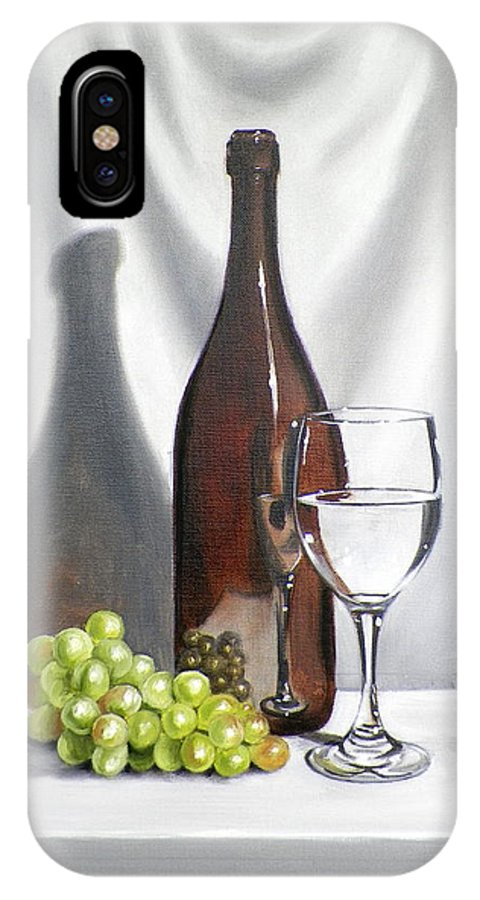 Art IPhone X Case featuring the painting Still Life with White Wine by RB McGrath
