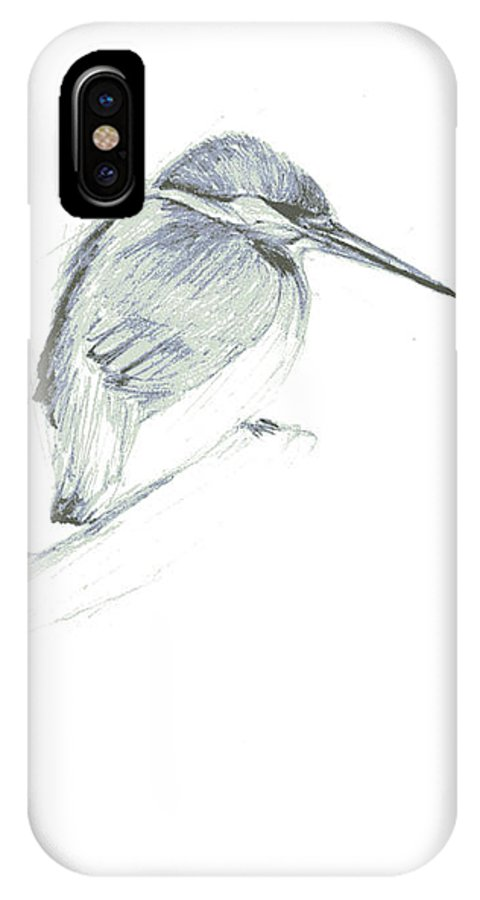 A Kingfisher Waiting For Prey- Pencil Drawing IPhone X Case featuring the drawing Still by Mui-Joo Wee