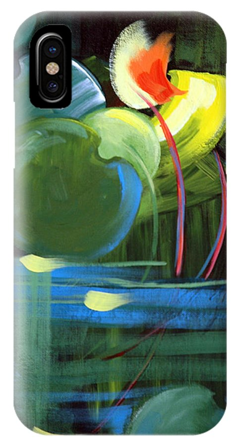 Abstract IPhone X Case featuring the painting Still Water by Suzanne McKee