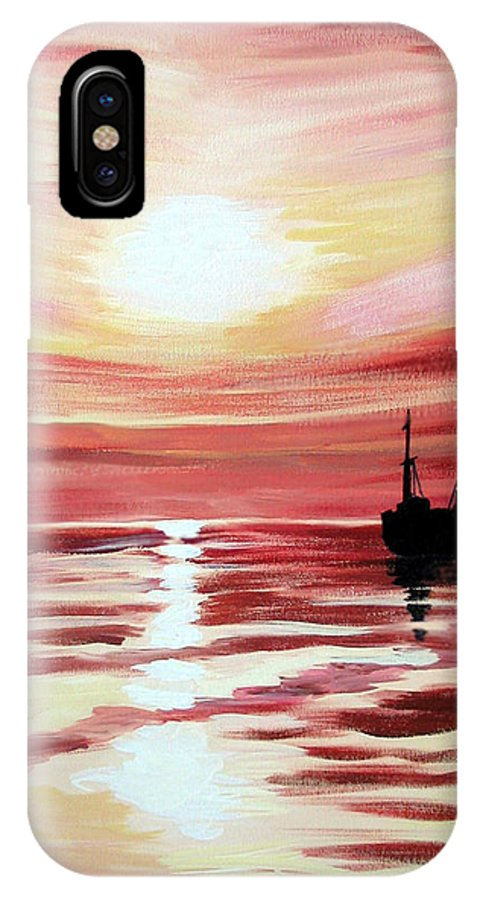 Seascape IPhone X Case featuring the painting Still Waters Run Deep by Marco Morales