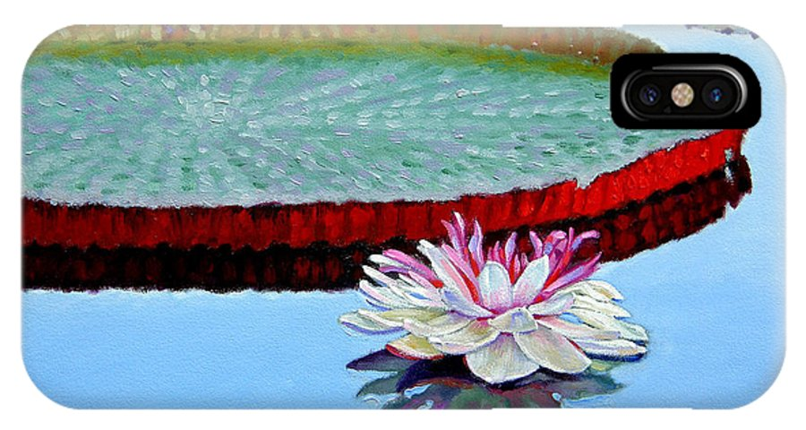 Water Lily IPhone X Case featuring the painting Stillness by John Lautermilch