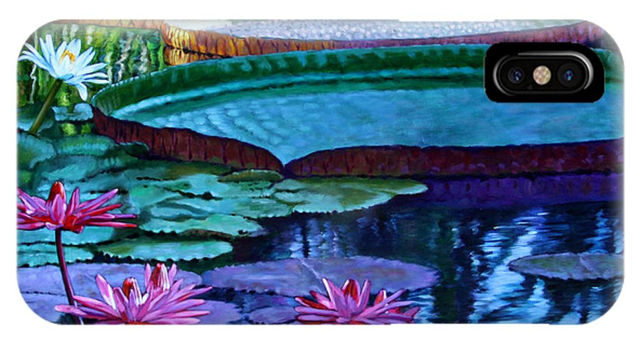 Garden Pond IPhone X Case featuring the painting Stillness of Color and Light by John Lautermilch