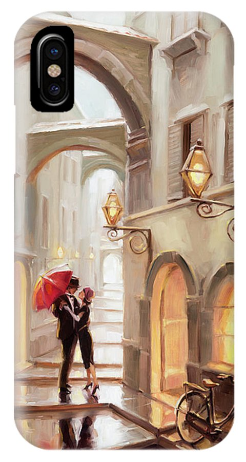 Love IPhone X Case featuring the painting Stolen Kiss by Steve Henderson